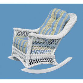 Natural Rattan Harbor Beach Wicker Rocker with Cushions
