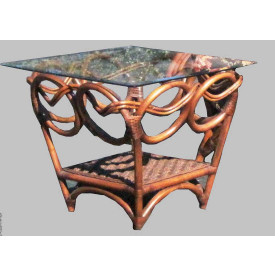 Java Twist Rattan Framed Wicker End Table