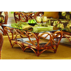 Java Twist Rattan FramedNatural Wicker Cocktail Table