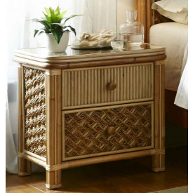 Nassau 2-Drawer Night Stand with Glass Top