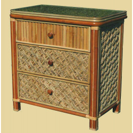Nassau 3-Drawer Dresser with Glass Top