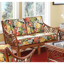 South Pacific Natural Rattan Loveseat