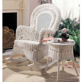 Natural Rattan Country Wicker Rocker