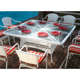 66 Square Resin Dining Table with Umbrella Hole
