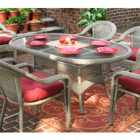 72 Oval Resin Dining Table with Umbrella Hole