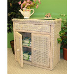 All Purpose Wicker Commode Cabinet - WHITEWASH