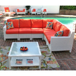 Caribbean 6-Pc Modular Wicker Sectional - WHITE