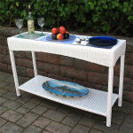 Caribbean Serving Console Table with Inset Glass Top - WHITE