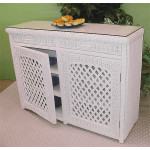 Buffet Lattice Wicker Cabinet - WHITE