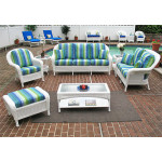 6 Pc Laguna Beach Resin Wicker Patio Furniture with Sofa & Love Seat - WHITE