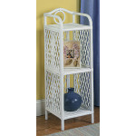 Pole Rattan Slim & Tall 3-Tier Wicker Floor Shelf - WHITE