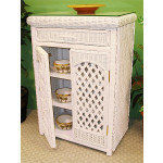 Single Lattice Wicker Cabinet - WHITE