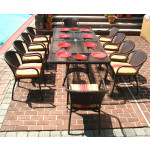 96x42 Rectangular Resin Wicker Dining Set With Cushions - ANTIQUE BROWN