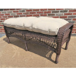 Belaire Wicker Bench with Cushion - ANTIQUE BROWN