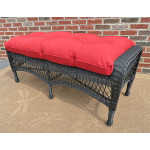 Belaire Wicker Bench with Cushion - BLACK