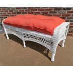 Belaire Wicker Bench with Cushion - WHITE