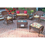 4 Pc Belair Resin Wicker Furniture Set with Cushions - ANTIQUE BROWN