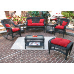 4 Pc Belair Resin Wicker Furniture Set with Cushions - BLACK