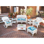 4 Pc Belair Resin Wicker Furniture Set with Cushions - WHITE