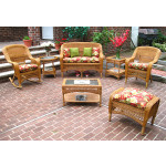 4 Pc Belair Resin Wicker Furniture Set with Cushions - GOLDEN HONEY