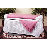Woodlined Wicker Blanket Chest - WHITE