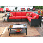 Caribbean 6-Pc Modular Wicker Sectional - BLACK