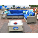Caribbean 6-Pc Modular Wicker Sectional - DRIFTWOOD