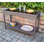 Caribbean Serving Console Table with Inset Glass Top - COFFEE BROWN