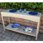 Caribbean Serving Console Table with Inset Glass Top - DRIFTWOOD