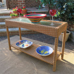 Caribbean Serving Console Table with Inset Glass Top - GOLDEN HONEY