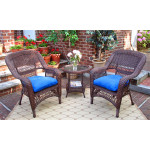 3-Piece Belaire Resin Wicker Chat Set With Round Table and Cushions - ANTIQUE BROWN