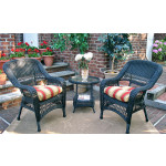 3-Piece Belaire Resin Wicker Chat Set With Round Table and Cushions - BLACK