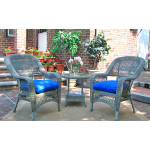 3 Pc Belaire Resin Wicker Chat Set With Round Table  - DRIFTWOOD