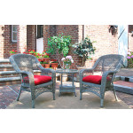 3-Piece Belaire Resin Wicker Chat Set With Round Table and Cushions - DRIFTWOOD