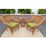 3-Piece Belaire Resin Wicker Chat Set With Round Table and Cushions - GOLDEN HONEY