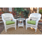 3-Piece Belaire Resin Wicker Chat Set With Round Table and Cushions - WHITE
