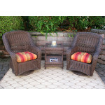 Bel Aire Resin Wicker Swivel Glider Chat Set (Square Table)  - ANTIQUE BROWN