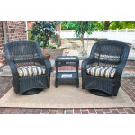 Bel Aire Resin Wicker Swivel Glider Chat Set (Square Table)  - BLACK