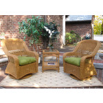 Belaire Resin Wicker Swivel Glider Chat Set (Square Table) - GOLDEN HONEY