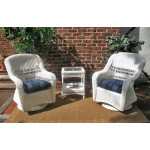 Belaire Resin Wicker Swivel Glider Chat Set (Square Table) - WHITE