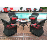 """Belaire Resin Wicker Swivel Glider Conversation Set (1) 24"""" High Table (4) Chairs - BLACK"""