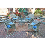 "High Back Veranda Resin Wicker Conversation Sets with 24"" High Table - DRIFTWOOD"