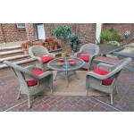 Malibu Resin Wicker Conversation Set (1) 24 High Table (4) Chairs - DRIFTWOOD