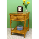 Diamond 1-Drawer Wicker Night Table - CARAMEL