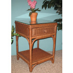 Diamond 1-Drawer Wicker Night Table - COFFEE