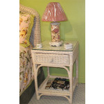 Diamond Wicker Night Table  - WHITEWASH