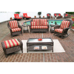 4 Piece Laguna Beach Resin Wicker Patio Furniture with Love Seat, (2) Chairs & Cocktail Table - ANTIQUE BROWN