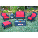 4 Pc Laguna Beach Resin Wicker Patio Furniture - BLACK