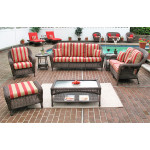 6 Piece Laguna Beach Resin Wicker Patio Furniture with Sofa & Love Seat - ANTIQUE BROWN