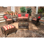 4-Pc Madrid Wicker Set with Cushions 2- Chairs - RUSTIC BROWN